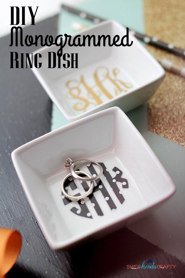 DIY Monogrammed Ring Dish | DIY Cricut Crafts & Ideas | Fun and Cute Projects for Kids and Adults by DIY Ready at http://diyready.com/diy-cricut-crafts/