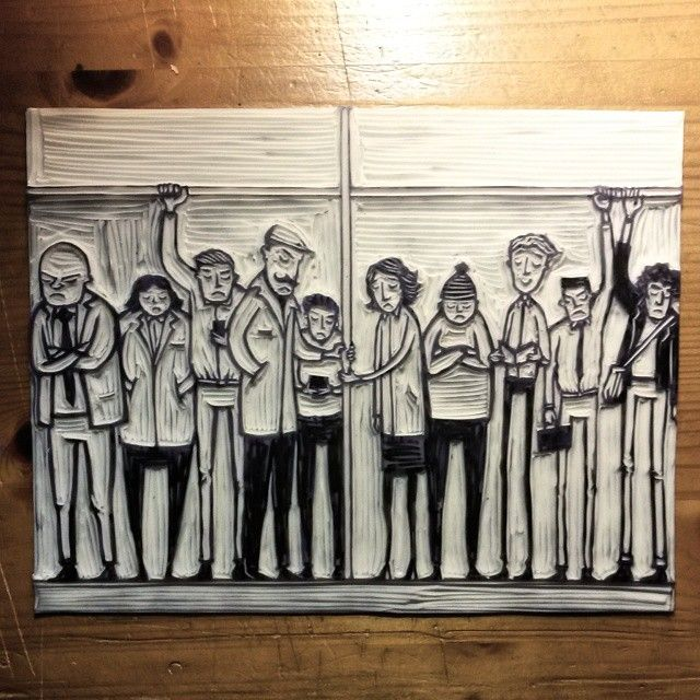 Pedro Demetriou. 'Happiness On The Underground' lino cut finished. Very happy with the cut...now onto the challenge of editing and colouring this!