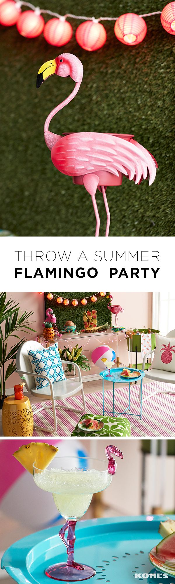 If you don't throw a flamingo party, is it even summer? The flamingo theme is bright, fun and perfect for outdoor or indoor birthday (or any day) parties. Make sure to decorate with as many flamingos as you can get and accent with turquoise, yellow and lime green accessories. Bring on the margaritas! Get your home ready for summer with Kohl's.