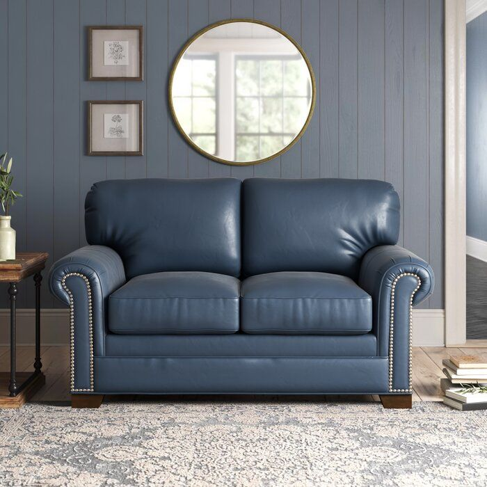Copola 63 Genuine Leather Rolled Arm Loveseat Genuine Leather Sofa Leather Couches Living Room Love Seat