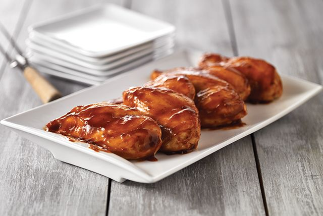 Oven BBQ Chicken Tenders.  Spray 9 x13 pan.  Put in Tenders, cover with Sweet Baby Rays barbecue sauce.  Cover with foil and bake 20 min.  Uncover and bake 5-10 more minutes.  Bake at 375.  Very good.  Don't over bake.