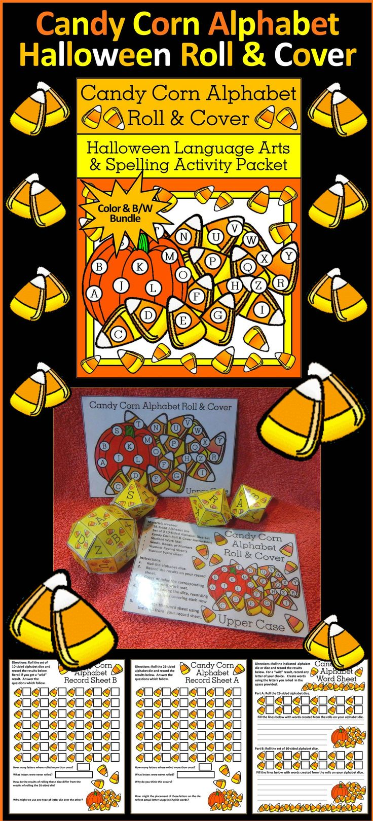 Candy Corn Alphabet Roll & Cover Halloween Activity : This Halloween language arts & literacy center reinforces letter recognition, spelling, and critical thinking on word formation and letter occurrence. Includes upper and lower case templates for a 26-sided alphabet die and a set of 3 10-sided alphabet dice, instruction sheets, work mats, record sheets, and a spelling word sheet activity.   #Halloween #Candy #Corn #Language #Arts #Spelling #Activities #Teacherspayteachers