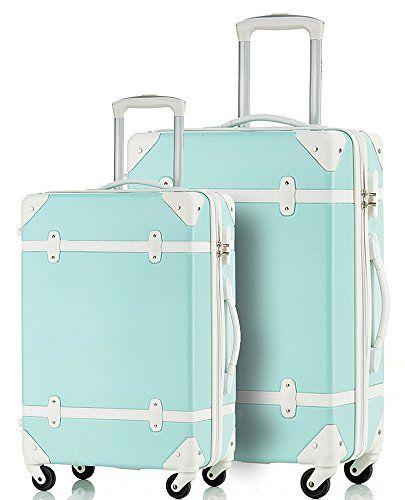 merax travelhouse 2 piece abs luggage set vintage suitcase merax http