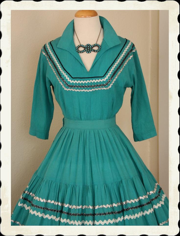 1950u0027s Rich Turquoise Cotton Voile 2 Piece Patio Dress   Via Etsy.