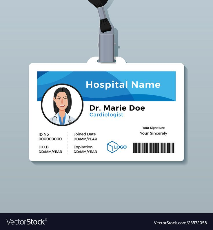 Doctor id card medical identity badge template for doctor