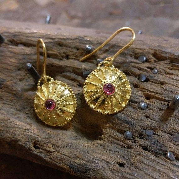 Ruby Gold Hoop Earrings, Bridal Earrings, 18k Solid Gold Dangle Ruby Earrings.