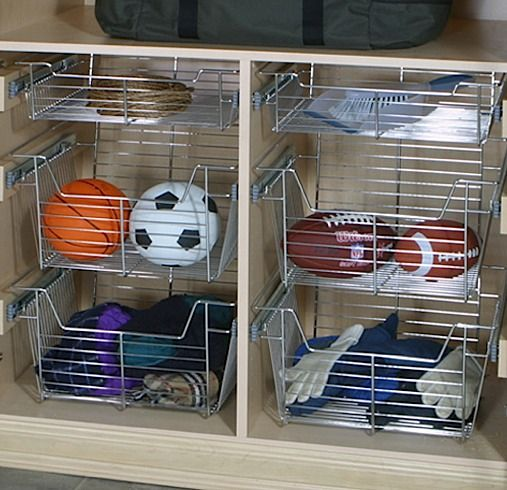 Organize Your Sporting Equipment With Ease With These Deep Wire Basket  #drawers. Www.