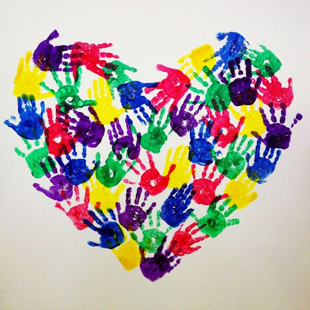 Handprints From The Heart by sbhallfamily: Perfect for a class. #Craft #Heart #Handprints #Classrooom