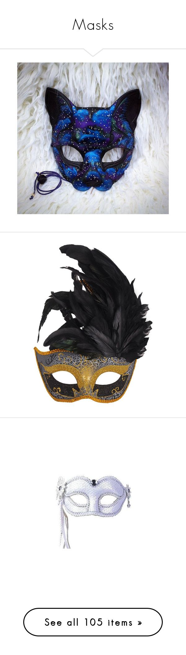 """""""Masks"""" by theclocker ❤ liked on Polyvore featuring costumes, blue costume, black cat halloween costumes, fancy costumes, blue halloween costume, galaxy halloween costume, masks, masquerade costume, feather costume and masquerade halloween costume"""
