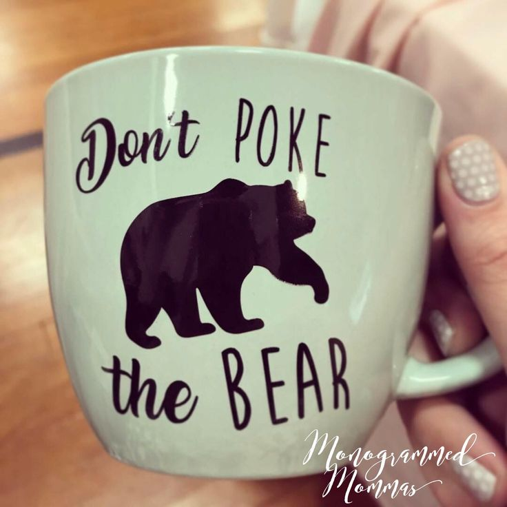 Thanks for checking out a Monogrammed Mommas handcrafted item! We are so excited that you are interested in us! Below we have some basic info listed, but feel free to message our shop with any questions! Happy Shopping -Lindzey & Lacey The Monogrammed Mommas Big Mama Mug --- 16 oz Ceramic Mug featuring the phrase Dont poke the bear  We can add any name or monogram to our Big Mama mug. The cup photographed is a Coral mug with our Costa Rica Blue vinyl design. ***Be sure to let us know what...