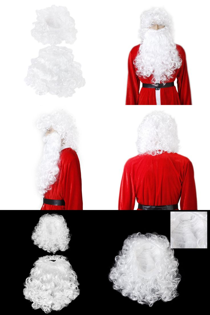 [Visit to Buy] Christmas Wizard Old Man Dress Up White Curly Wigs Cosplay Lovely Father Santa Claus Beard Wig Man/Women/Children Fancy Dress Up #Advertisement
