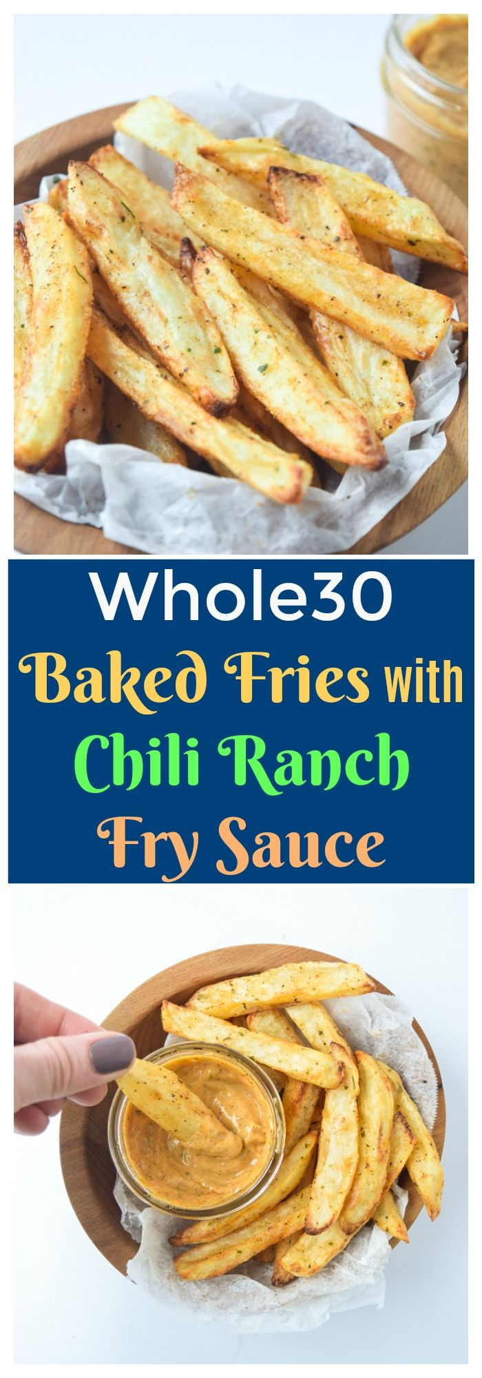 Whole30 Baked Fries with Chili Ranch Fry Sauce (Whole30 Paleo) - a winning combo of crispy baked fries and flavor packed dipping sauce that is Whole30 compliant! | tastythin.com