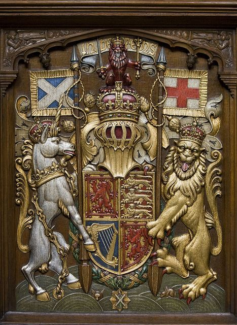 The Royal Arms of Scotland.  Sovereign's stall in the Thistle Chapel of St Giles' Cathedral, Edinburgh.