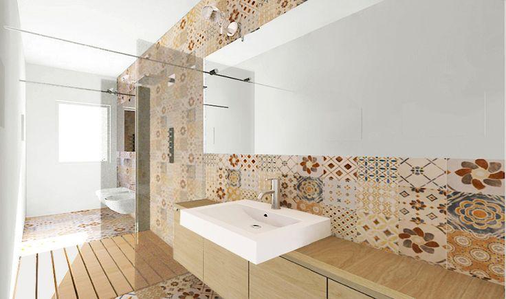 Una doccia passante per un bagno stretto e lungo