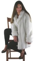 Silk and Sable-White Mink Faux Fur 31 inch Coat