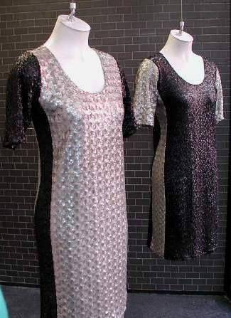 Sparkle contrast panel dresses