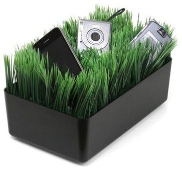 Kikkerland Grass Charging Station, Black - eclectic - home electronics - Sears