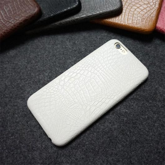 White Leather Crocodile Snake Case for iPhone 6 and Up
