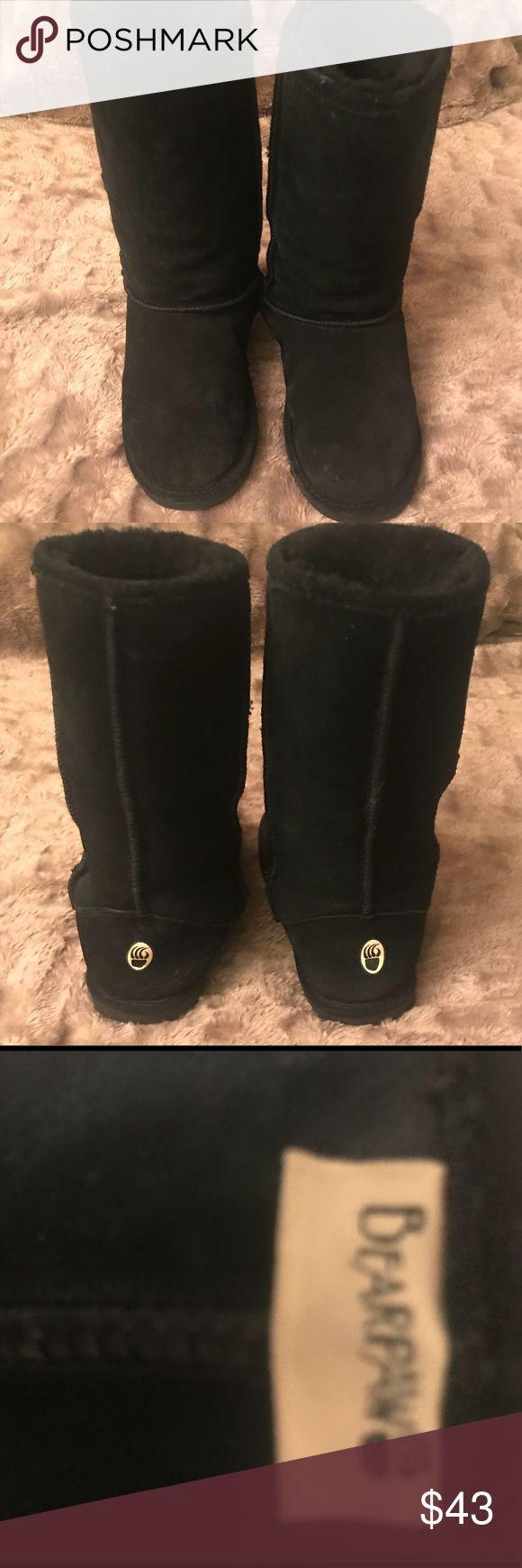 BEARPAW Black Mid-calf Boots Sz7W LIke New! ❤️❤️❤️ BEARPAW Black Mid-calf Boots w/ Wool inside Sz 7W LIke New!  ❤️❤️❤️ BearPaw Shoes