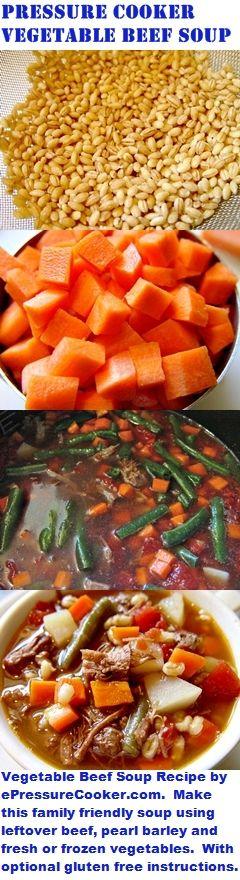 Pressure Cooker Recipes:  Vegetable Beef Soup Recipe by ePressureCooker.com.  Made with leftover beef, pearl barley, carrots, potatoes, diced tomatoes and green beans.  Includes instructions for a gluten free version.  Give your family this hearty, homemade soup which both tastes better and is cheaper than the canned version.