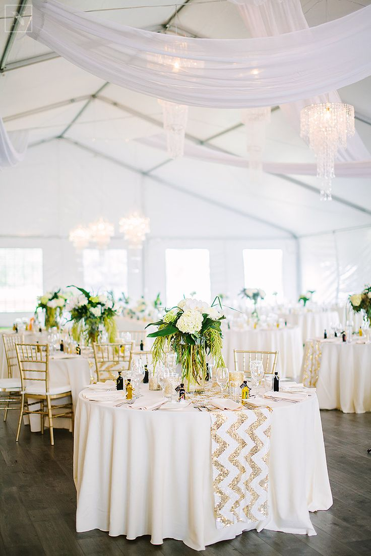 tent wedding, gold and white wedding, fresh florals, glitter chevron table runner