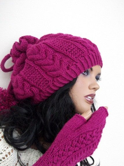 Cherry Color Knitting Hat and gloves-Pon pon hat-Set-fingerless gloves hat set on Etsy, $68.00