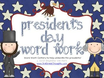 This unit includes over four center activities to celebrate and honor our Commander in Chief on President's Day.Included are:- Making Words (2-9+ letter words)- Word Search (including most of the vocabulary words)- Parts of Speech Sort (sorting 36 President's Day-themed words into nouns, verbs, or adjectives)- ABC Order (organizing 36 President's Day-themed words into alphabetical order)- Syllable Sort (sorting 36 President's Day-themed words into 1-3 syllables)- Publishing Paper (for…