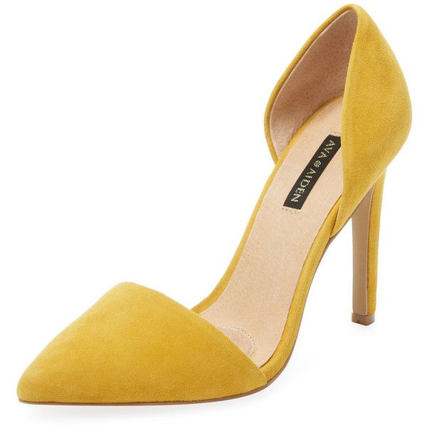 Ava & Aiden Women's Signature Pointed-Toe D'Orsay Pump - Yellow ($99) ❤ liked on Polyvore featuring shoes, pumps, yellow, pointed toe pumps, stacked heel pumps, leather pumps, high heel shoes and pointed toe high heel pumps