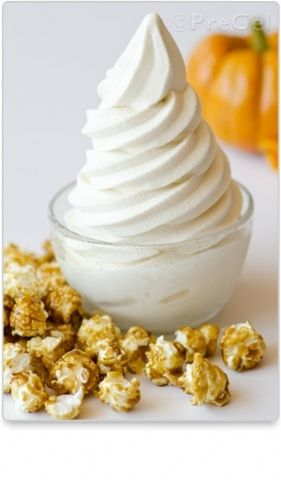 Caramel Popcorn Tenero // If anyone ever thought popcorn could not be a savory treat, they've never tried this tantalizing tenero. Utilize PreGel Nonfat Dry Milk Powder (Grade A, Low Heat) and PreGel Fruttosa® (Water & Milk Base - Hot/Cold Process) to take caramel popcorn to the next level!