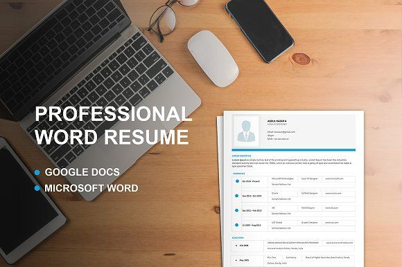 Professional Word&Google Docs Resume by colorstreak on @creativemarket