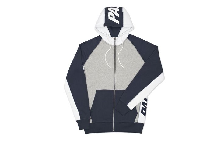 BLOCKER ZIP HOOD GRIS CHINÉ / MARINE