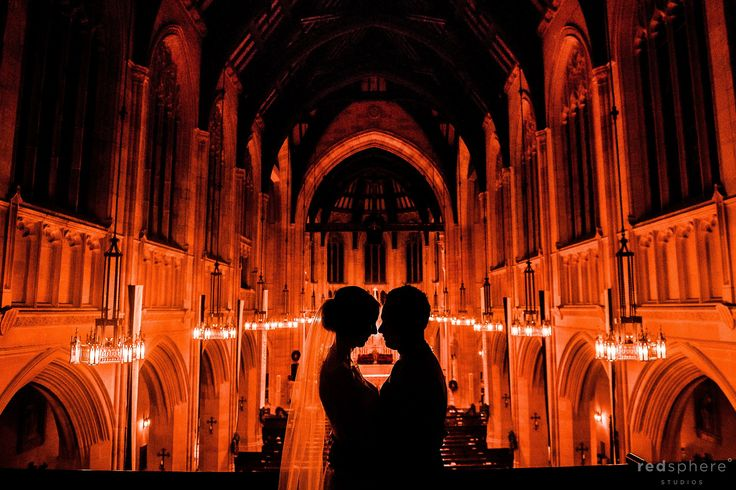 Bride and groom wedding silhouette at St Dominic's Church