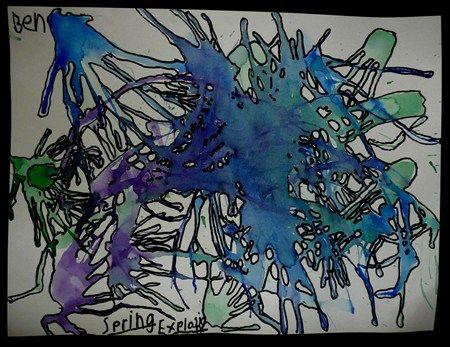 Watercolor blown with straws then outline with sharpies Ecoline-druppels met een rietje uitblazen en de buitenkanten hiervan  met viltstift omtrekken