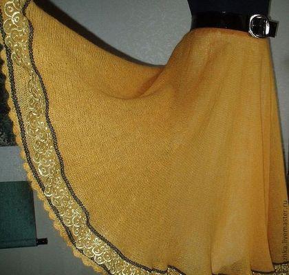 """Вязаная мохеровая юбка длинная юбка """"Осеннее солнце"""" - вязаная юбка,вязание на заказ"""