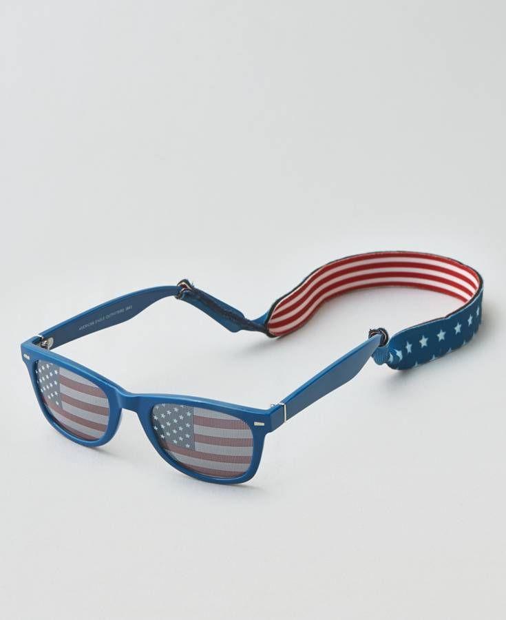 American Eagle American Flag Sunglasses & Croakie