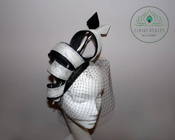 Black and white sinamay teardrop fascinator cocktail hat