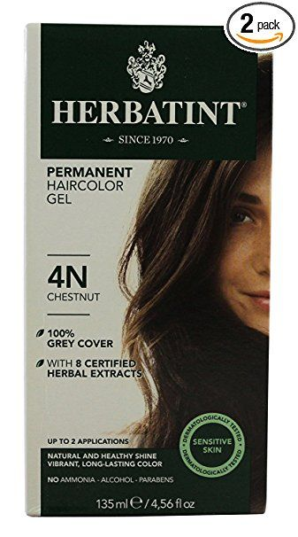 Herbatint Permanent Herbal Hair Color Gel, Chestnut, 4N, 2 pk Review ...