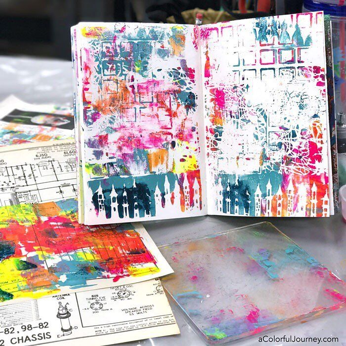 Starting a journal page with a Gel Press plate, the rainbow, and stencils from  @stencilgirl_products at @ephemerapaducah and the StencilGirl and Friends event! Thank you @Gelpress for sponsoring -everyone was thrilled with their plate and what they made with it!  #artplay #acolorfuljourney #stencilgirl #stencil  #monoprinting #stenciling #gelpress #artjournal #artjournaling #monprinting #gelprinting