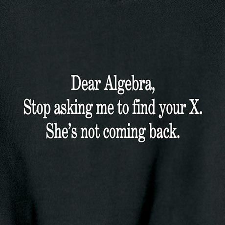 DEAR ALGEBRA, STOP ASKING ME TO FIND YOUR X SHIRT | funny ... Dear Math Stop Asking Me To Find Your X