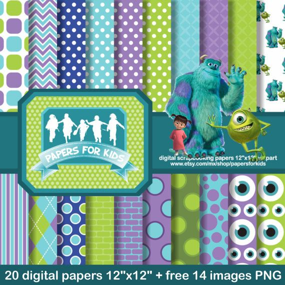 Digital Papers, Monsters Inc, Mike and Sulley, Boo, Birthday, Background, Clipart, Kids, Invitation