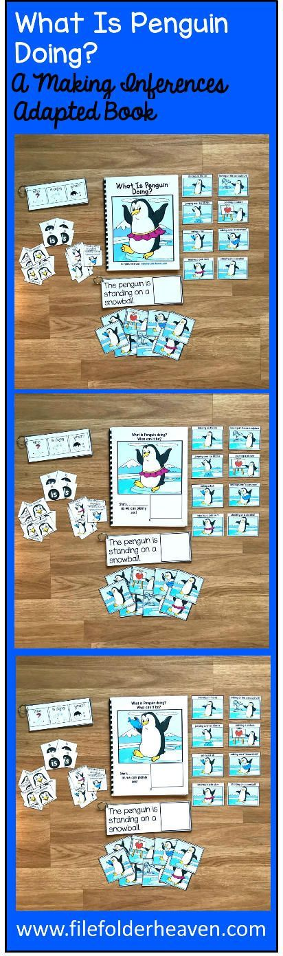 "This Penguin Sentence Builder Book, ""What Is Penguin Doing?"" focuses on identifying action words, building sentences, and sentence comprehension.  In a small group, the teacher or therapist reads the story as students follow along and match the correct action to each page.   Sample Text:  ""What is Penguin doing? What can it be? She's.... __________ (standing on a snowball)  as we can plainly see"""