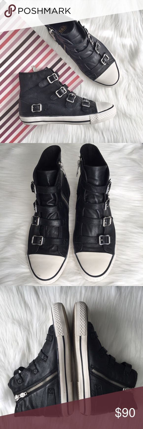 """Ash Virgin Black Leather Sneaker Pre-loved, No box, Women's High top trainer, Strap and buckle detail, Side zipper, Buttery soft Nappa leather upper, textile lining, rubber sole, approx 4"""" shaft, Black Color. Please feel free to ask questions. No trades. Ash Shoes Sneakers"""