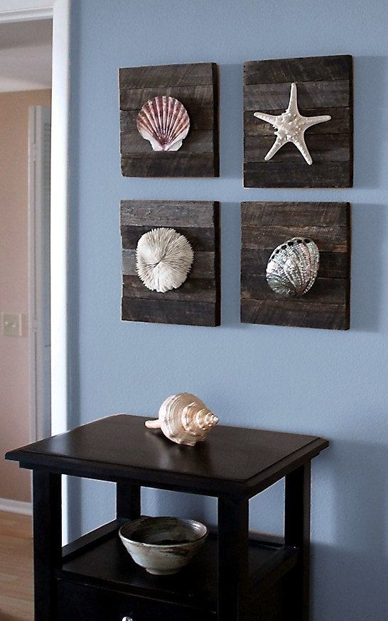 Driftwood Seashell Hanging Art | Beach Decor of Coral on driftwood panel for Coastal wall Decor ...