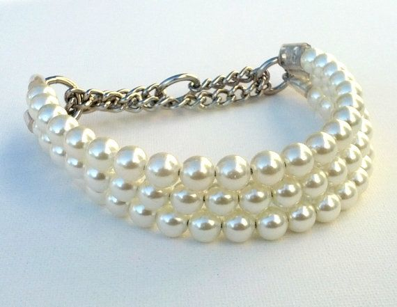 Triple Strand Pearl Dog Collar, Martingale OR Buckle Collars by BeadieBabiez