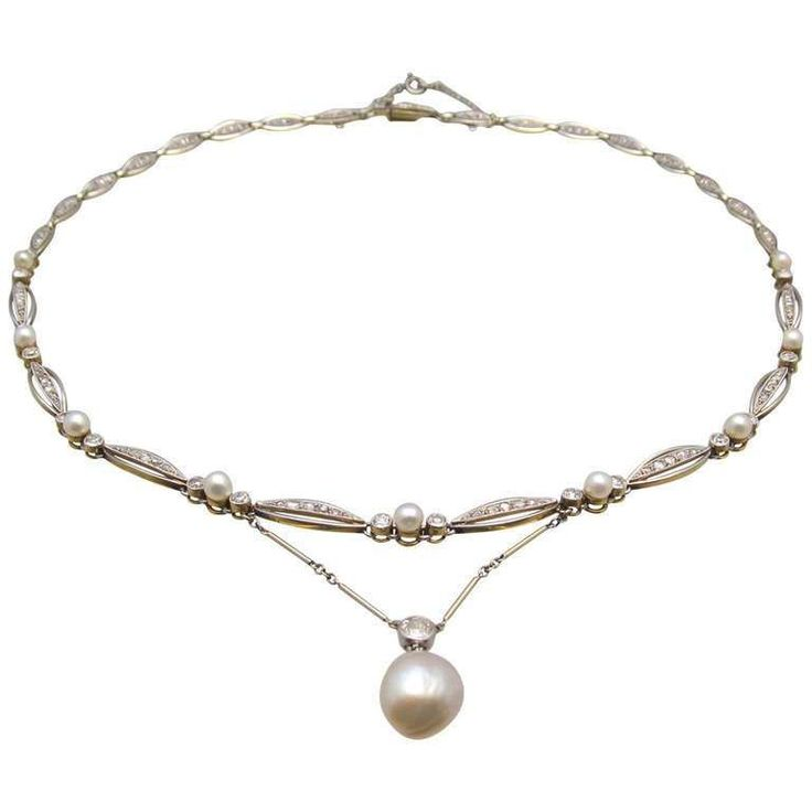 Art Deco Natural Pearl Diamond Necklace Circa 1930s