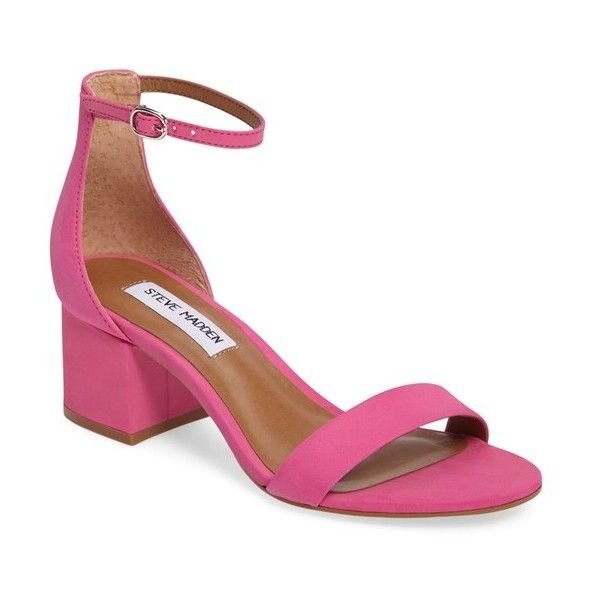 Women's Steve Madden 'Irenee' Ankle Strap Sandal ($80) ❤ liked on Polyvore featuring shoes, sandals, pink nubuck leather, vintage sandals, pink heeled sandals, block heel sandals, nubuck shoes and vintage shoes