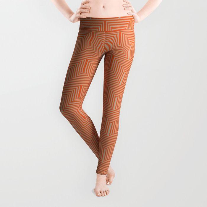 Doors & corners op art pattern in orange and beige Leggings #vrijformaat #society6 #leggings #apparel #sportswear #fashion #style #orange #beige #tan #opart #optical art #pattern #geometric