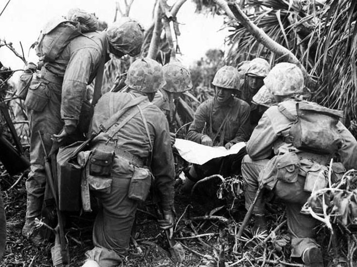 Lieutenant R A Tilgham Studying A Map With His Marines Western Iwo Jima Japan