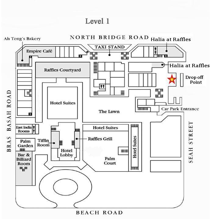 Raffles Singapore Layout Street Map White Houses Hotel