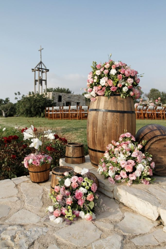 wedding ideas lebanon creative wine barrel flower decoration arnaoon 28238